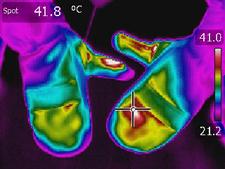 beheizbare Handschuhe - Wärmebild - 41,8 Grad